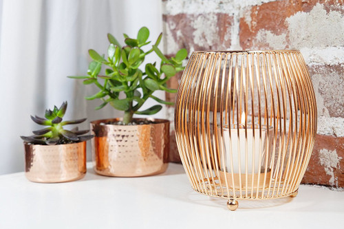 Copper Wire Votive Candle Holder