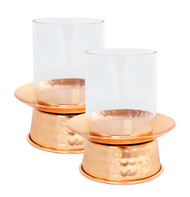 Hammered Copper Votive Hurricane Lamp (Set of 2)