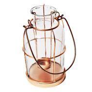 Copper and Glass Tea Light Votive Candle Holder Lantern