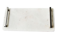 White Marble Serving Board with Handles - 14""