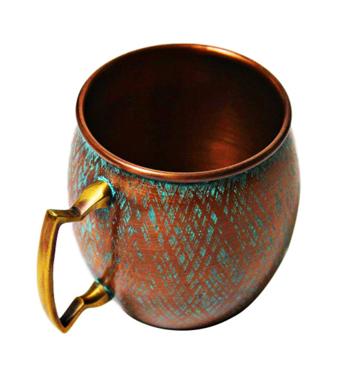 Antique Copper Barrel Mug with Patina Finish
