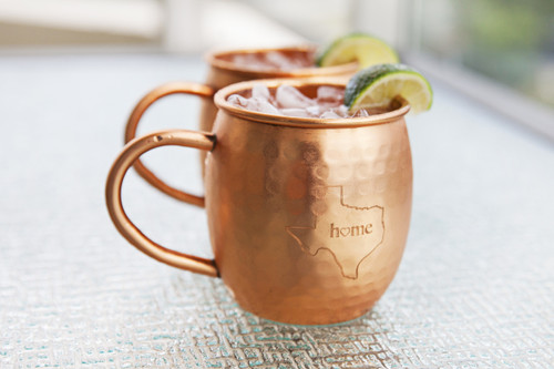 Texas Hammered Copper Barrel Mugs (set of 2)