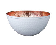 Copper & White Hammered Bowl (7.5 in diameter)
