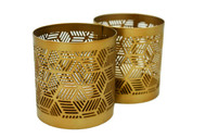 Brass Geometric Candle Holder