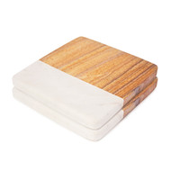White and Beige Stone Coasters Set of Two | Modern Stoneware Coaster Gift