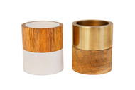 Alchemade Wood Mix Tea Light Candle Holders (Set of 2)