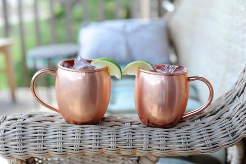 2 Pack Barrel Shape Puer Copper Mugs 16oz