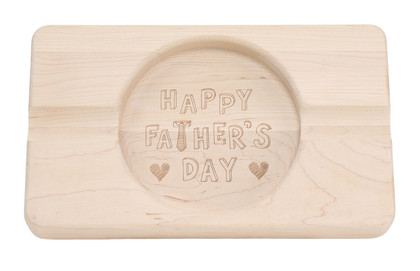 "Laser Engraved Father's Day 6"" x 10"" Double Cigar Ash Tray Maple"