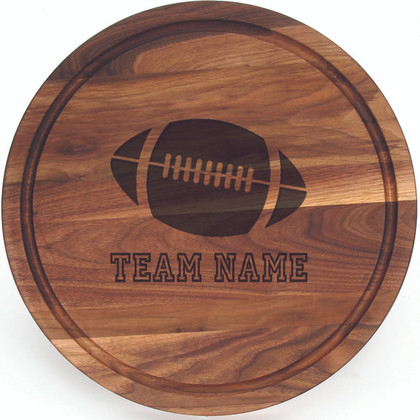 "Sports Engraved 16"" Round Walnut Cutting Board w/Engraved Players Signatures"
