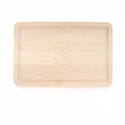 "Carved Initial 10 1/2"" x 16"" Rectangle Maple Cutting Board w/Engraved Players Signatures"