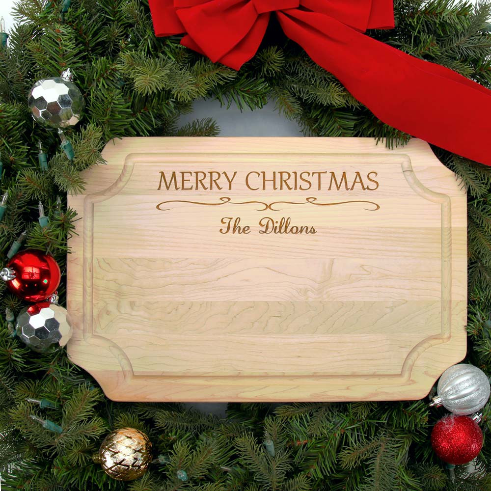 Christmas Board Design.Personalized Christmas Cutting Board Family Name