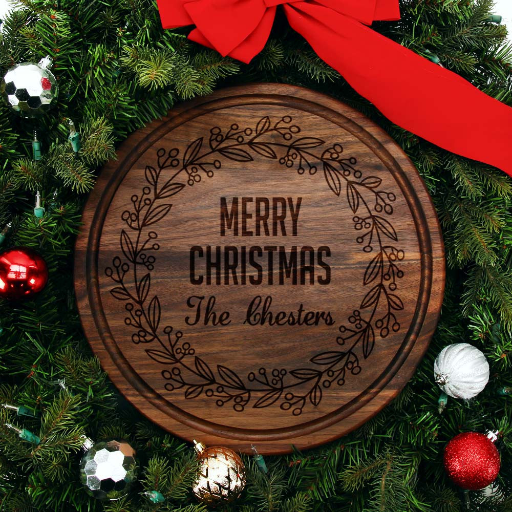 Christmas Board Design.Personalized Wreath Cutting Board Family Name Walnut