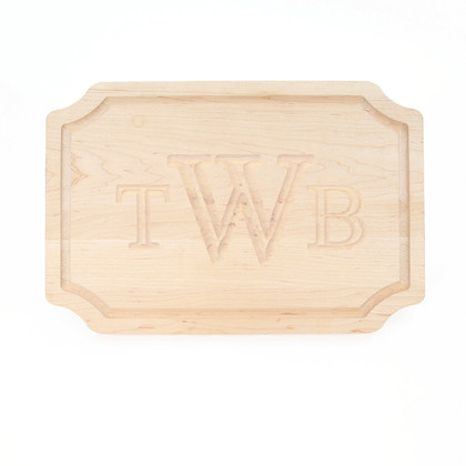12 x 18 Maple Scalloped Cutting Board - Carved Monogram