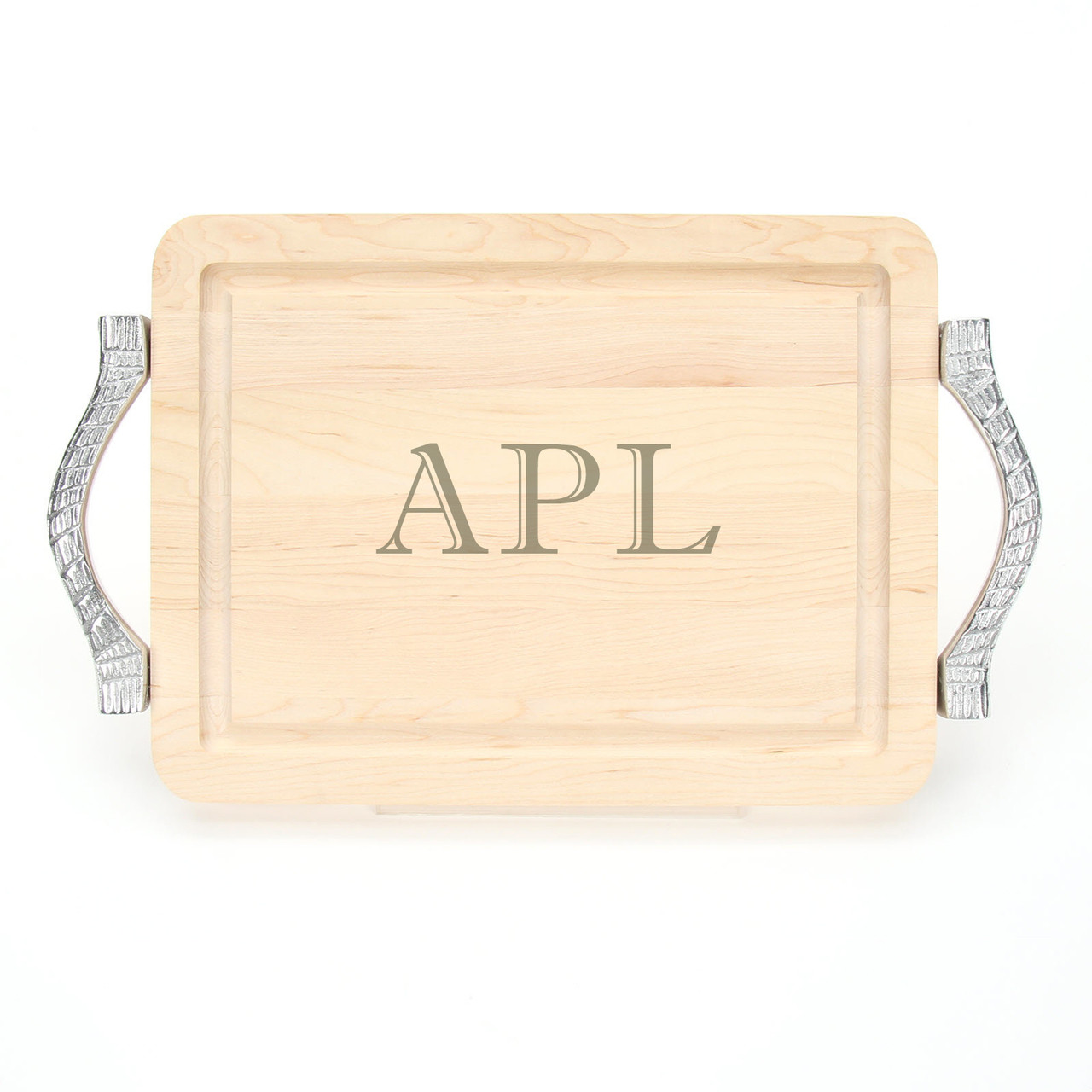 9 X 12 Maple Rectangle Cutting Board Rope Handles Laser Engraved Monogram