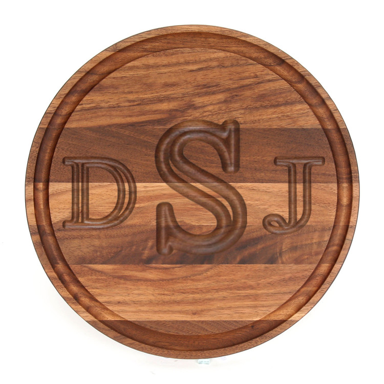 "10 1/2"" Round Walnut Cutting Board - Carved Monogram"