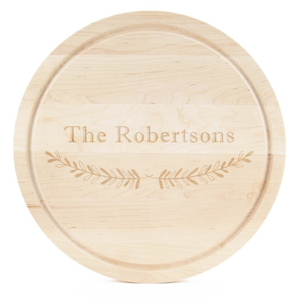 Family Name Round Maple Cutting Board