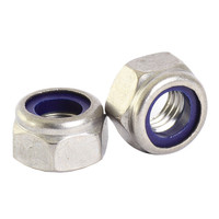 M20 Bright Zinc Hex Nuts with Nylon Inserts(50 Pack)