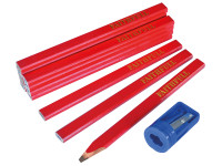 Faithfull Carpenter's Pencils Tube (Tube of 12 + Sharpener)| Duotool