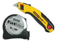 Stanley Tools FatMax Tape Measure 5m/16ft (Width 32mm) & Retractable Utility Knife| Duotool
