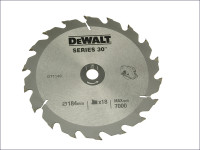 Dewalt Circular Saw Blade 184 x 16mm x 18T Series 30 Fast Rip Dt1149 From Duotool