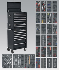 Sealey Tool Chest Combination 14 Drawer with Ball Bearing Runners - Black & 1179pc Tool Kit from Toolden