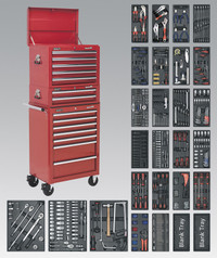 Sealey Tool Chest Combination 14 Drawer with Ball Bearing Runners - Red & 1179pc Tool Kit from Toolden