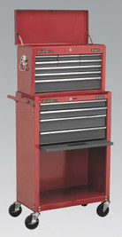 Sealey Topchest & Rollcab Combination 13 Drawer with Ball Bearing Runners - Red/Grey from Toolden