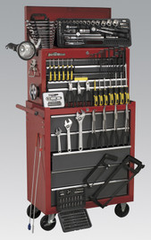 Sealey Topchest & Rollcab Combination 14 Drawer with Ball Bearing Runners - Red/Grey & 239pc Tool Kit from Toolden