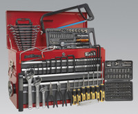 Sealey Topchest 9 Drawer with Ball Bearing Runners - Red/Grey & 205pc Tool Kit from Toolden