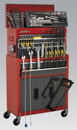 Sealey Topchest & Rollcab Combination 6 Drawer with Ball Bearing Runners - Red/Grey & 128pc Tool Kit from Toolden