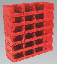 Sealey Plastic Storage Bin 105 x 165 x 83mm - Red Pack of 24 from Toolden