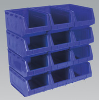 Sealey Plastic Storage Bin 209 x 356 x 164mm - Blue Pack of 12 from Toolden