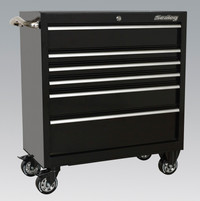 Sealey Rollcab 6 Drawer 930mm Heavy-Duty Black from Toolden