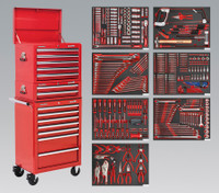 Sealey Tool Chest Combination 14 Drawer with Ball Bearing Runners - Red & 446pc Tool Kit from Toolden