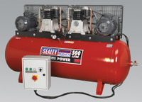 Sealey Compressor 500ltr Belt Drive 2 x 5.5hp 3ph 2-Stage with Cast Cylinders from Toolden