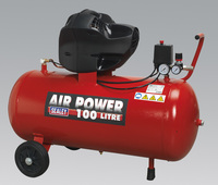 Sealey Compressor 100ltr V-Twin Belt Drive 3hp Oil Free from Toolden