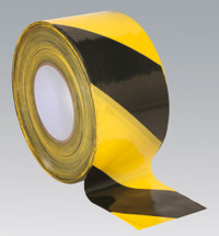Sealey Hazard Warning Barrier Tape 80mm x 100mtr Black/Yellow Non-Adhesive from Toolden