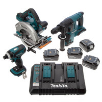 Makita DLX3029PTJ 18V li-ion Cordless 3 Piece Kit with 3 MakPac Cases, 4 x 5ah Batteries and Twin Charger from Duotool.