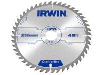 IRWIN Circular Saw Blade 216 x 30mm x 48T ATB