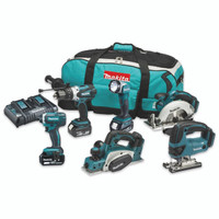Makita DLX6067PT 6 Piece 18v LXT Li-Ion Cordless Tool Kit with Twin Fast Charger