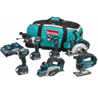 Makita DLX6012PM 6 Piece 18v LXT Li-Ion Cordless Tool Kit with Twin Fast Charge