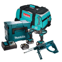 Makita 3 Piece SDS+ Kit with 3 x 3.0Ah Batteries