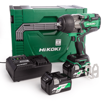 "HiKoki WR36DB/JRZ 18/36v MultiVolt Brushless 1/2"" Impact Wrench with 2 x 5.0Ah Batteries"