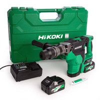 HiKoki DH36DMA/JAZ 36V MultiVolt Brushless Rotary Hammer SDS Max with 2 x 4.0Ah Batteries