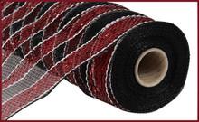 "Deco Mesh - 10"" x 10yd - Stripe Red/Black/White"