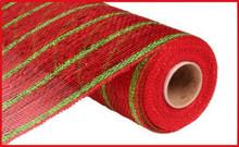 "Deco Mesh - 10"" x 10yd - Stripe Red/Lime Holo"