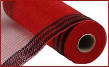"Deco Mesh - 10"" x 10yd - Metallic Red/Black Border"