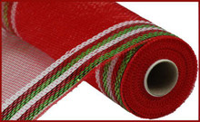 "Deco Mesh - 10"" x 10yd - Metallic Red/Lime/White Border"