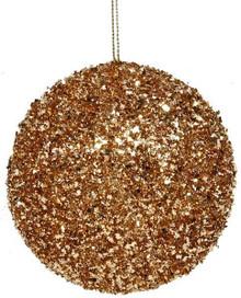 Glitter Ball Ornament - 100mm - Rose Gold