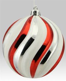 Swirl Ball Ornament - 100mm - Red/White/Silver